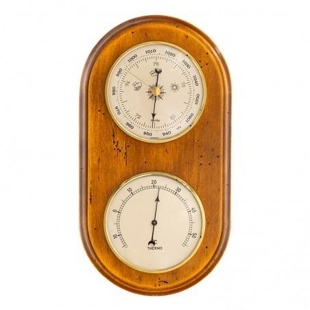Baromètre thermomètre arrondi finition antiquaire