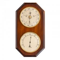 Baromètre thermomètre octogonal finition merisier