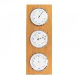 Baromètre thermomètre hygromètre rectangulaire chêne