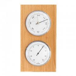 Baromètre thermomètre rectangulaire chêne massif
