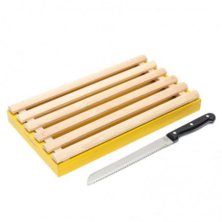 Planche à pain jaune avec ramasse miettes