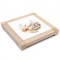Dessous de plat carré en faïence - décor fromage de chèvre