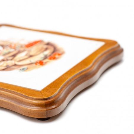 Dessous de plat découpé en faïence - décor fromage Munster
