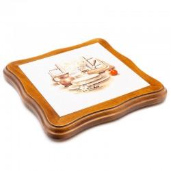 Dessous de plat découpé en faïence - décor fromage Saint-Nectaire