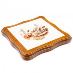 Dessous de plat découpé en faïence - décor fromage de chèvre