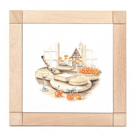Dessous de plat carré en faïence - décor fromage Munster