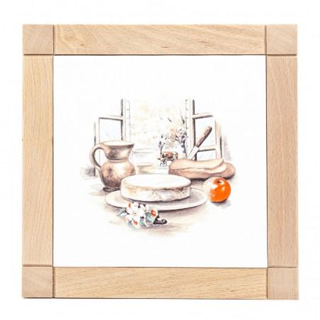 Dessous de plat carré en faïence - décor fromage Saint-Nectaire