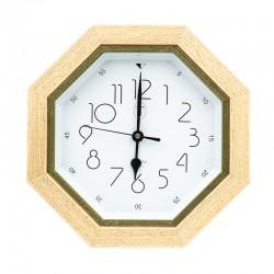 Pendule octogonale avec cadre en hêtre et liseré vert