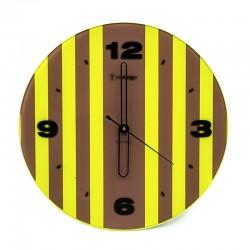 Pendule ronde rayée jaune et marron