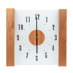 Pendule carrée transparente avec montants en bois