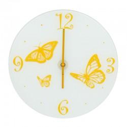 Pendule ronde en verre avec papillons jaunes