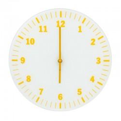 Pendule ronde en verre avec chiffres jaunes