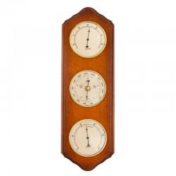 Baromètre thermomètre hygromètre festonné merisier