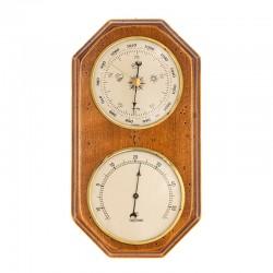 Baromètre thermomètre octogonal finition antiquaire