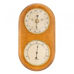 Baromètre thermomètre arrondi finition miel patiné