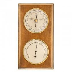 Baromètre thermomètre rectangulaire finition miel patiné