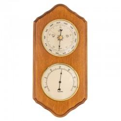Baromètre thermomètre festonné finition miel patiné