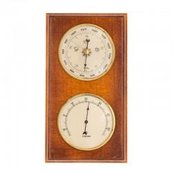Baromètre thermomètre rectangulaire finition merisier