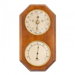 Baromètre thermomètre octogonal finition miel patiné