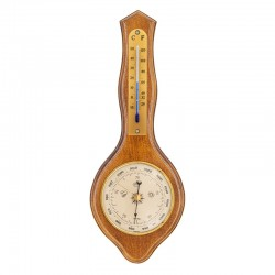 Baromètre thermomètre Lyre finition miel patiné