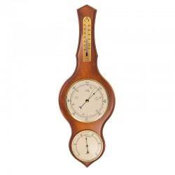 Baromètre thermomètre hygromètre lyre merisier