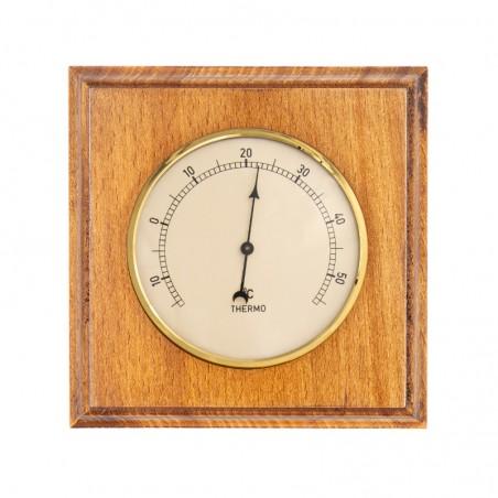 Thermomètre carré finition miel patiné