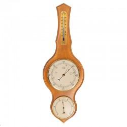 Baromètre thermomètre hygromètre lyre miel patiné