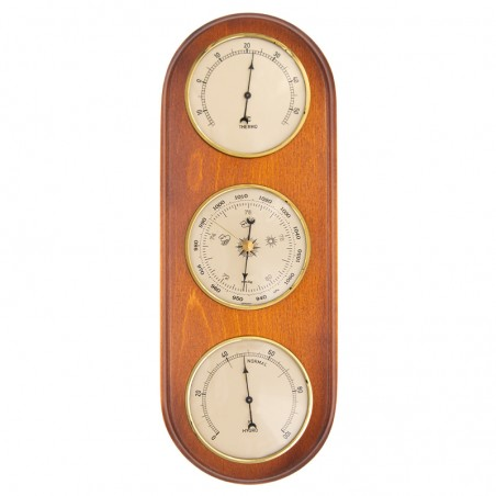 Baromètre thermomètre hygromètre arrondi merisier