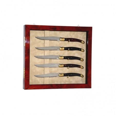 Vitrine de collection 5 couteaux Loupe d'orme