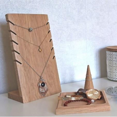 Set porte-bijoux en chêne