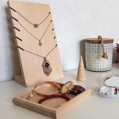 Set porte-bijoux en hêtre