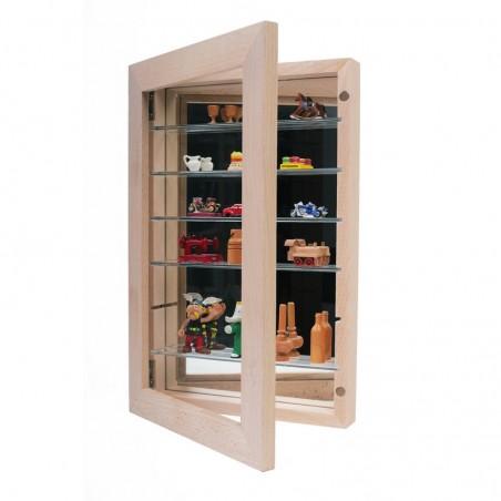 Petite vitrine de collection hêtre verni mat